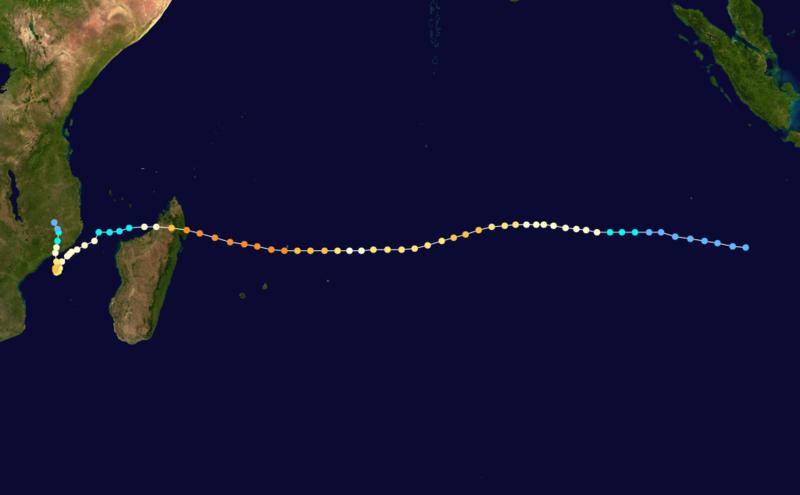 Trajectoire du cyclone tropical très intense Hudah