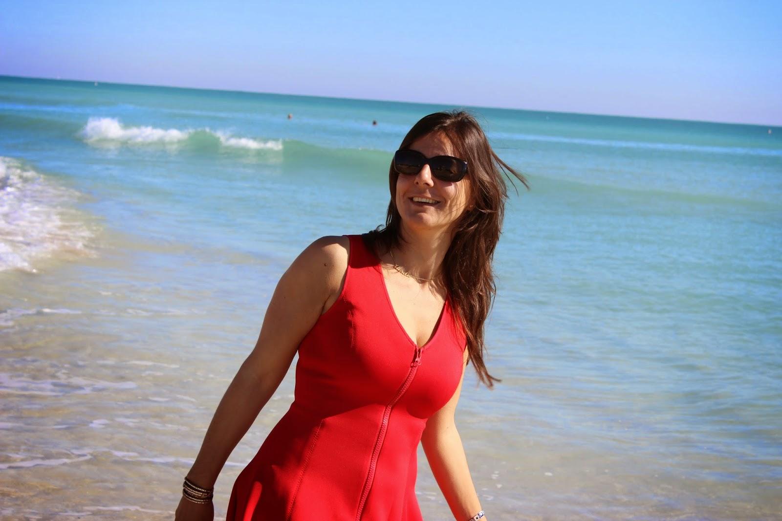 robe rouge naf naf néoprène