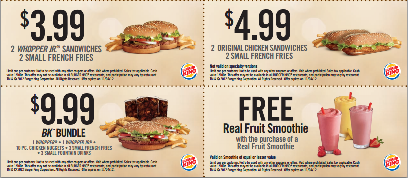Burger king printable coupons september 2019