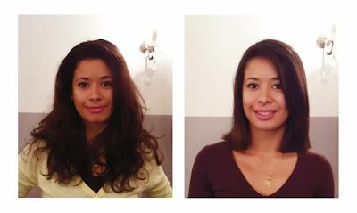 Michelle, de face, avant et après sa visite au  Studio 54, coupe et coiffure réalisée par Eddy, coiffeur  - visagiste.