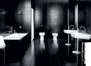 Male bathroom black and white