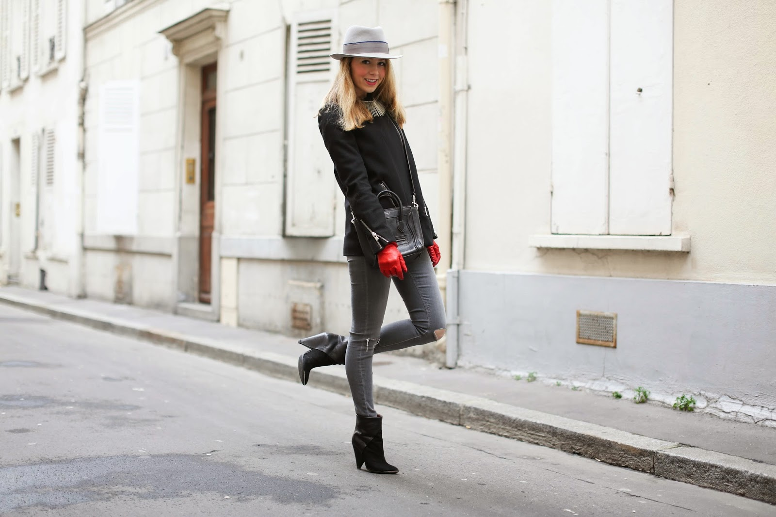 edgy, maje, topshop, iro, maison michel, céline, gloves, streetstyle, paris