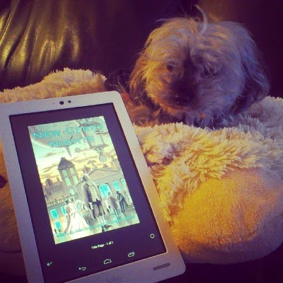 Murchie lays on a fuzzy pillow, illuminated by dim, golden light. Before him sits a white Kobo with New Ceres Nights's cover art on its screen. The cover depicts many people in 18th century garb standing stiffly in a public street. The primary colours are pale pink and glowing blue.