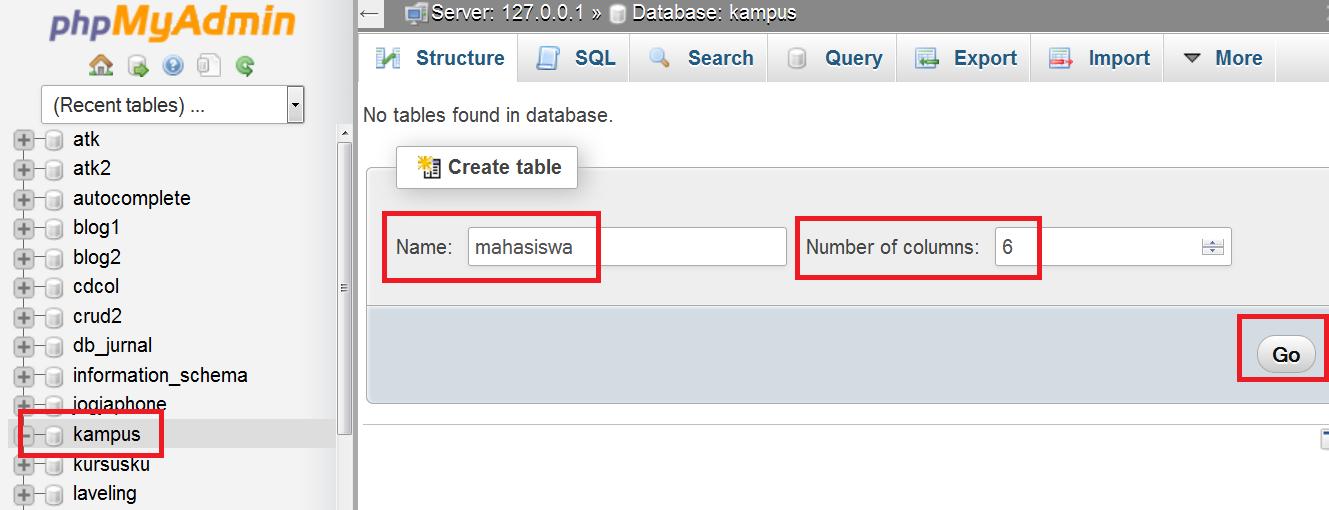 cara membuat database di phpmyadmin
