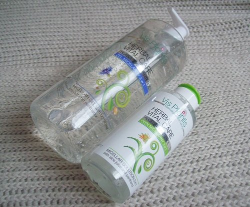 Produkty micelarne 3w1 do demakijażu marki Vis Plantis - żel z bławatkiem i pantenolem oraz płyn z aloesem i pantenolem.