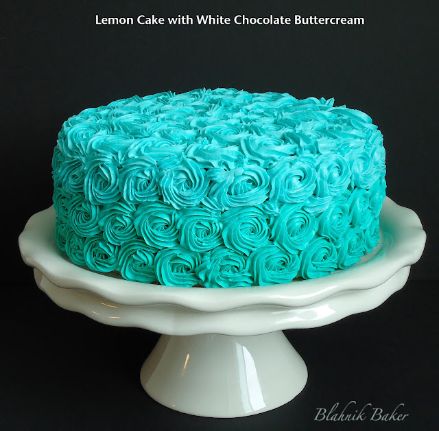 Ombre buttercream rose frosting covers moist, tender lemon layer cake in this delicious dessert recipe from BlahnikBaker.com