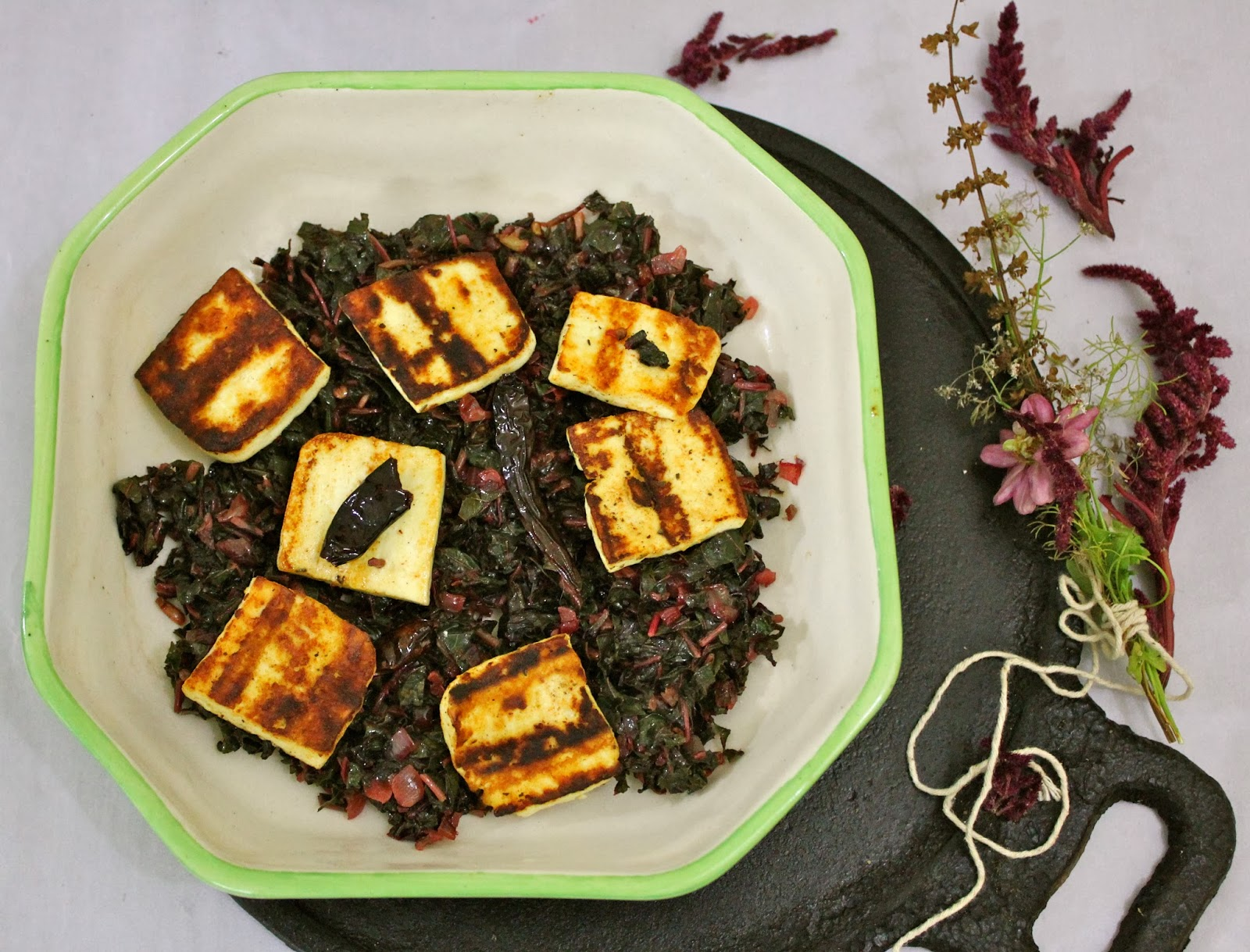Stir Fried Amaranth Greens with Grilled Paneer (Chaulai Ka Saag)