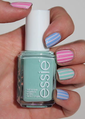 Essie Pastel Stripes Nail Art with Mint Candy Apple