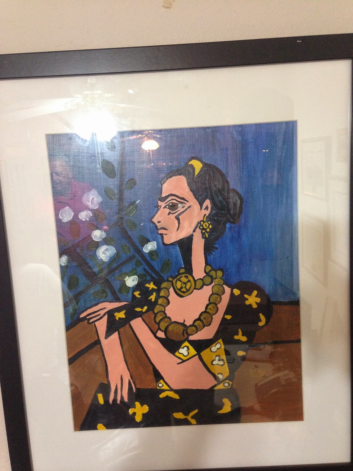 Frida Kahlo in a Picasso Style. Oil on wood, 1980 by F. Lennox Campello