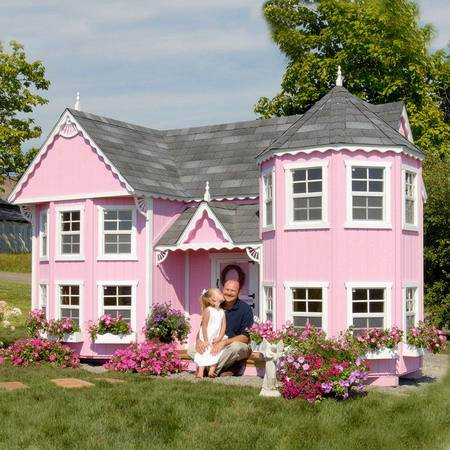 Pink Cottage Victorian Mansion Wood Playhouse Picture