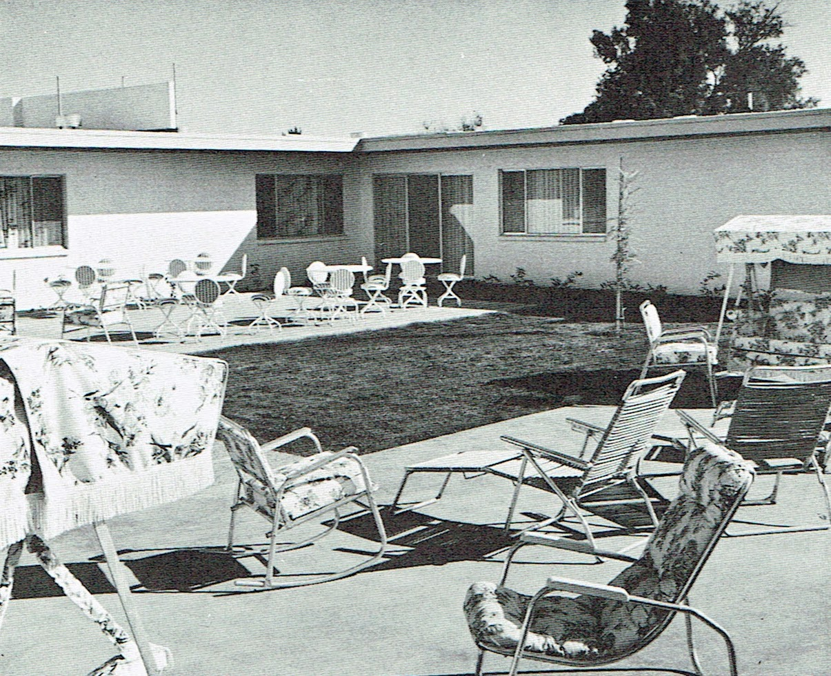 Lummie Moore took a thirty minute daily sun bath at this patio in Phoenix AZ in May 1962