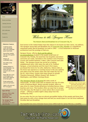 Sprague House Bed and  Breakfast Web Design