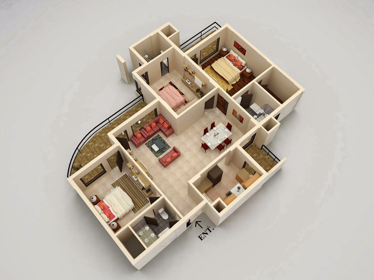 layout map of 3bhk Golden Sand Appartments