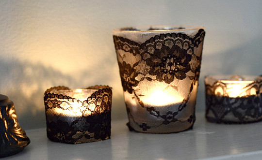 fall halloween diy black lace votives final candle