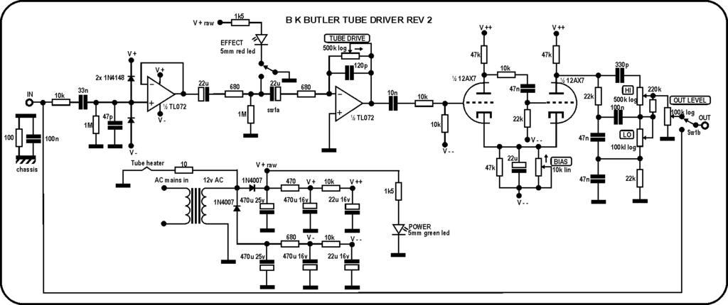 Schema Elettrico Nds Power Service : Chitarre pedali midi e creatività tube driver