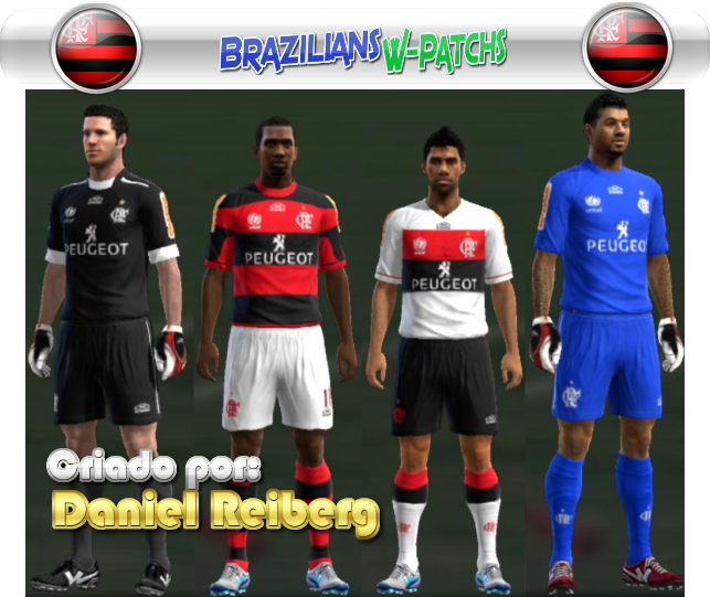 Uniforme (kit) do Flamengo para PES 2013 com patrocínio da Peugeot para a temporada 2013 exclusividade Brazilians W-Patchs