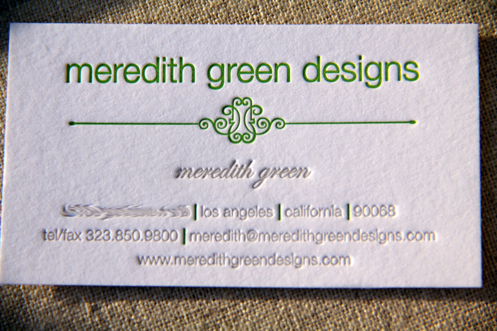 Kiss and Punch Designs: Business card for Meredith Green Designs