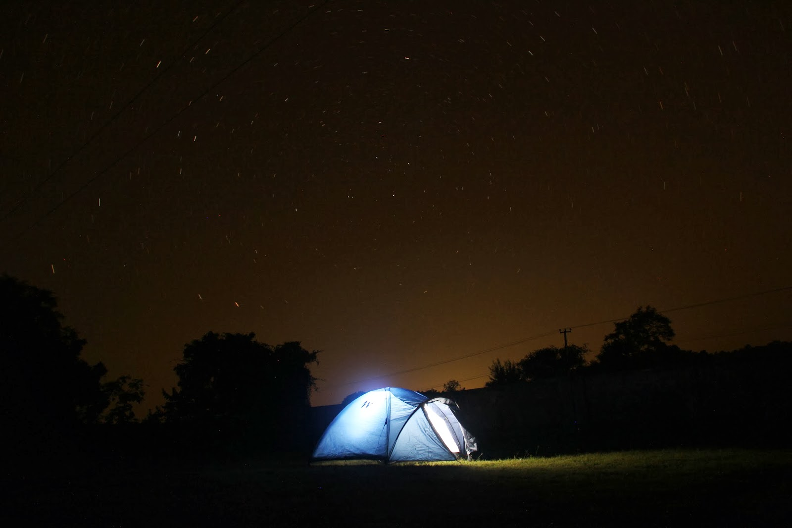 Our Tent Lighted up under Stars.....