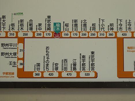 東武日光線 楡木駅 運賃表
