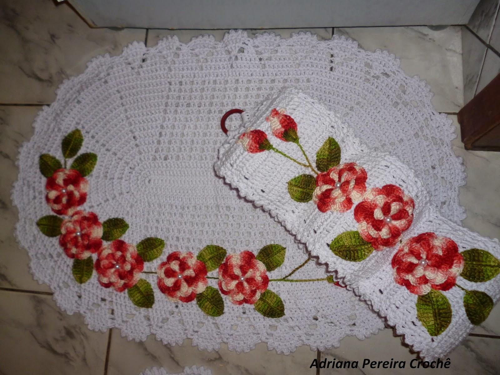 Adriana Pereira Crochê: Jogo de Banheiro Com Flores