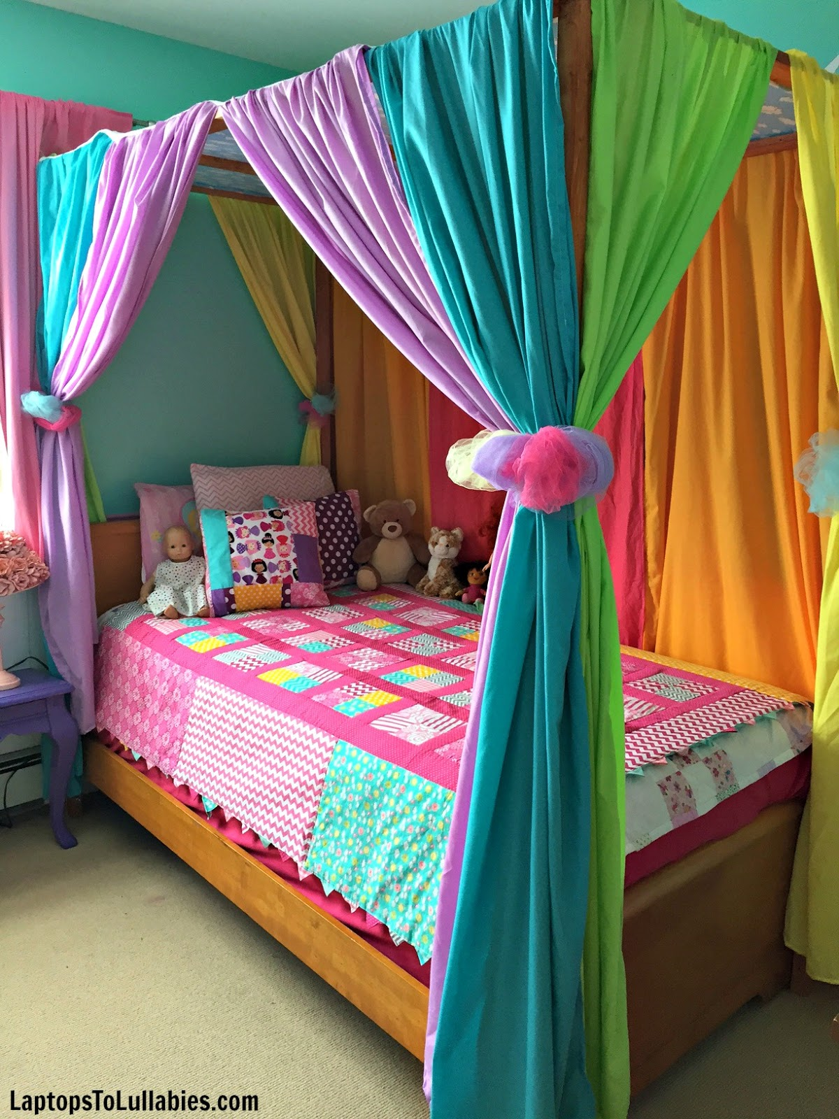 Laptops To Lullabies Diy Canopy Bed With Rainbow Curtains