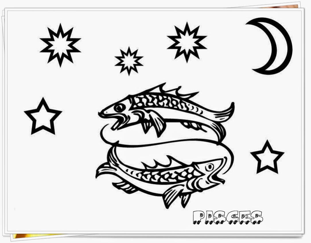 pisces coloring pages - pisces zodiac coloring pages printable pisces best free