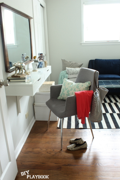 This DIY Vanity is perfect for our home office