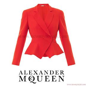 Princess Marie Style Alexander McQueen Leaf flared-hem crepe jacket