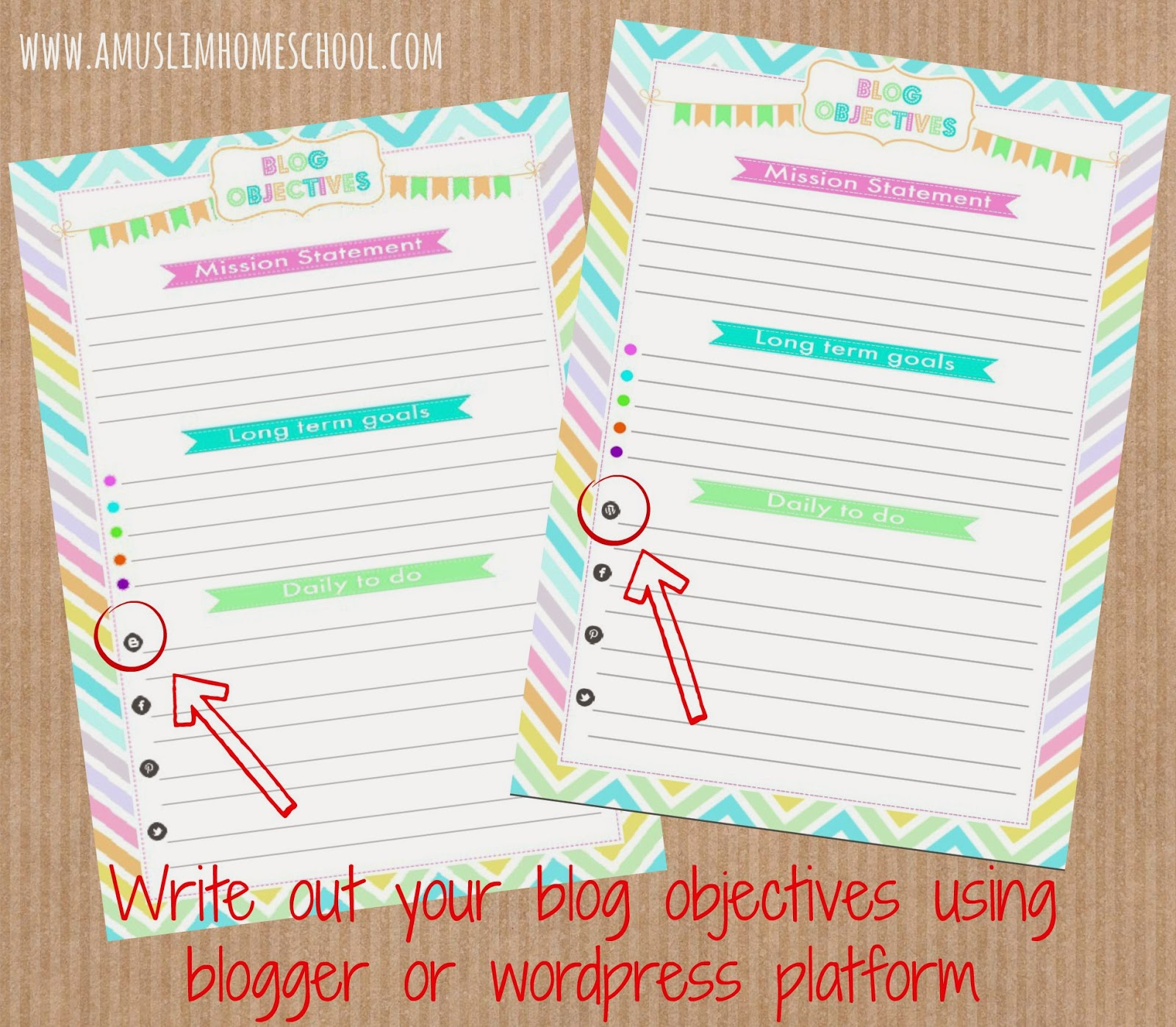 free blog objectives printable