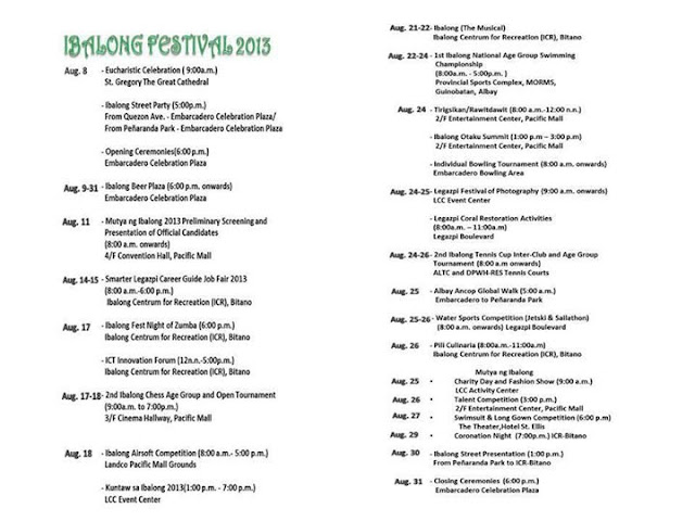 Ibalong Festival 2013 events
