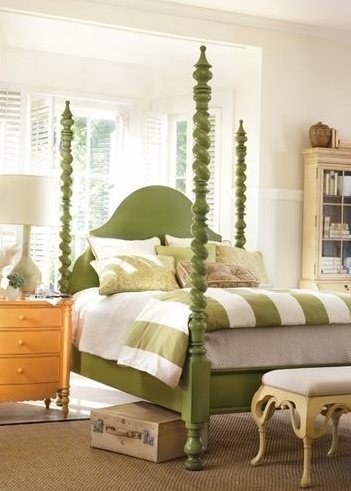 Spectacular A simple wood frame four poster bed is simple but packs a big punch Fabric can be added to the frame to create a more luxurious and softer feeling
