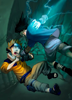 Sasuke and Naruto fighting, Sasuke looking like the winner