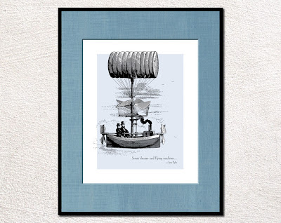 framed vintage illustration of hot air ship with text