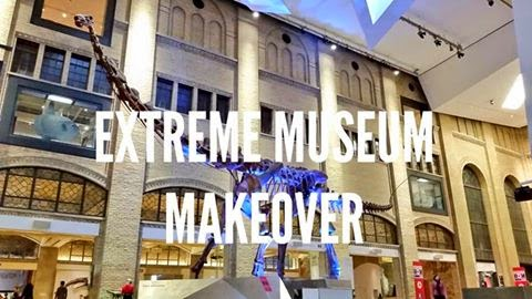 Royal Ontario Museums: Extreme Museum Makeover, ROM 100 Speaks Lecture Series in front of dinosaur in main foyer of museum