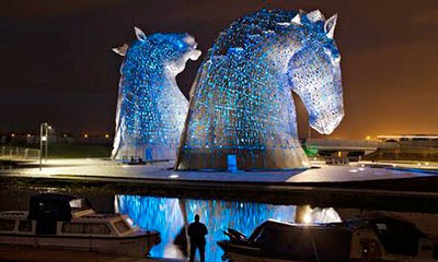 The Kelpies on the Forth and Clyde Canal.  Photograph: Murdo MacLeod for the Guardian