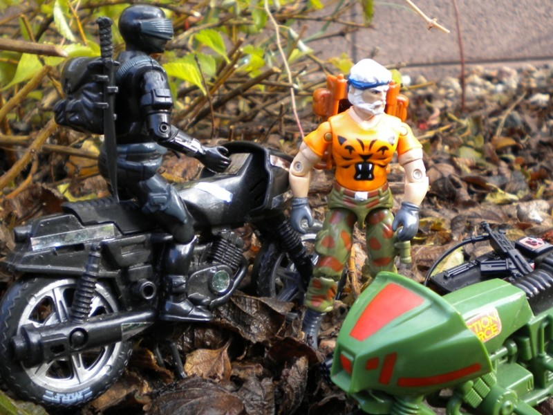 European Exclusive Tiger Force Outback, 1985 Snake Eyes, Action Force Z Cycle, Funskool Streethawk