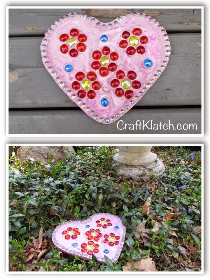 Craft Klatch Diy Easy Mother S Day Heart Stepping Stone Craft
