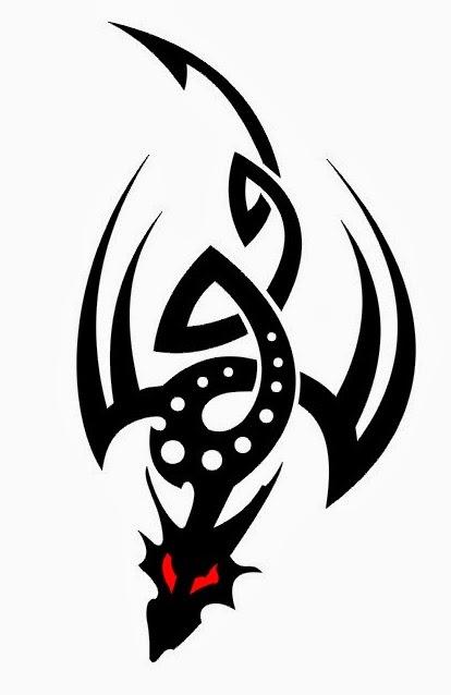 Flying dragon tribal tattoo stencil