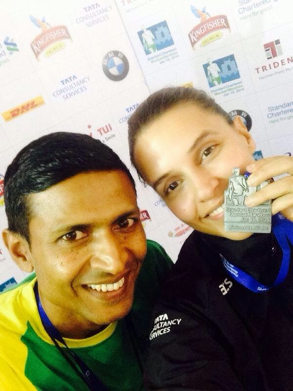 Neha Dhupia at Mumbai Half Marathon-2014 photos