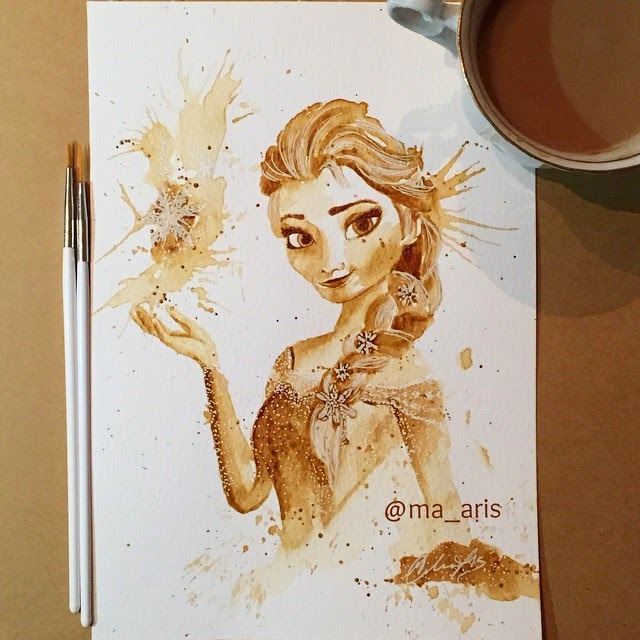 10-Elsa-Frozen-Maria-A-Aristidou-Pop-Culture-Painted-with-Coffee-www-designstack-co