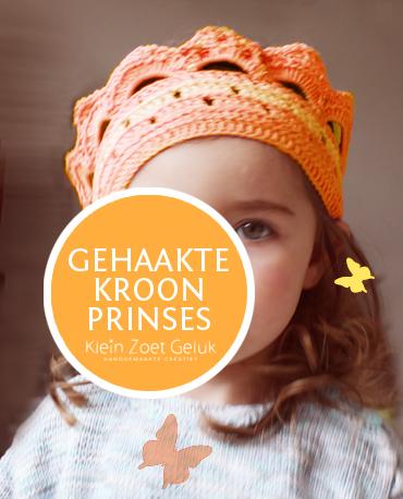 Gehaakte kroon oranje - door Klein Zoet Geluk