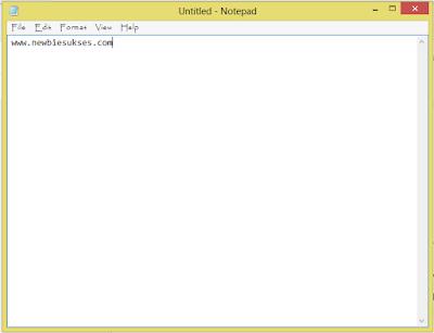 Ini tampilan notepad setelah terbuka
