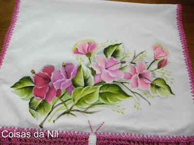 """""""pintura em tecido flores hibisco"""""""