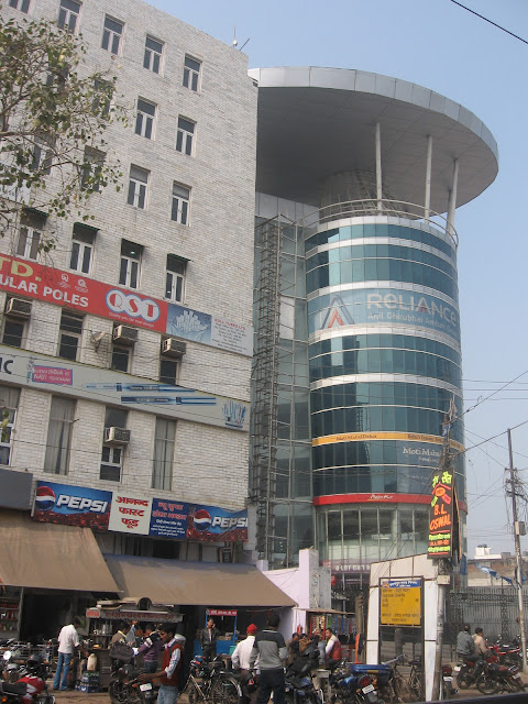 Modern glass buildings in Kanpur