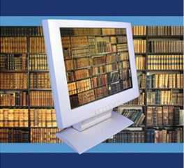 Computer and books - Online Book Collections