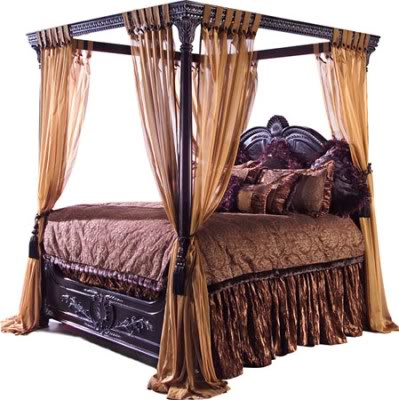 Antique furniture and canopy bed canopy bed curtains for Old world style beds