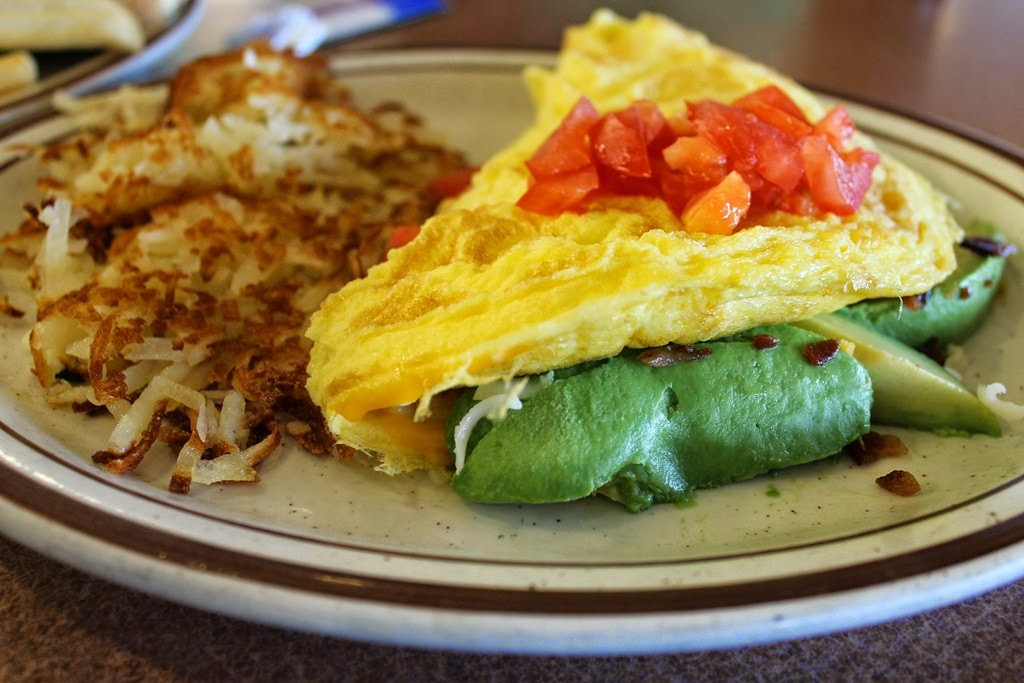 for Dinner! The Avocado Bacon Omelette comes with bacon, tomato ...
