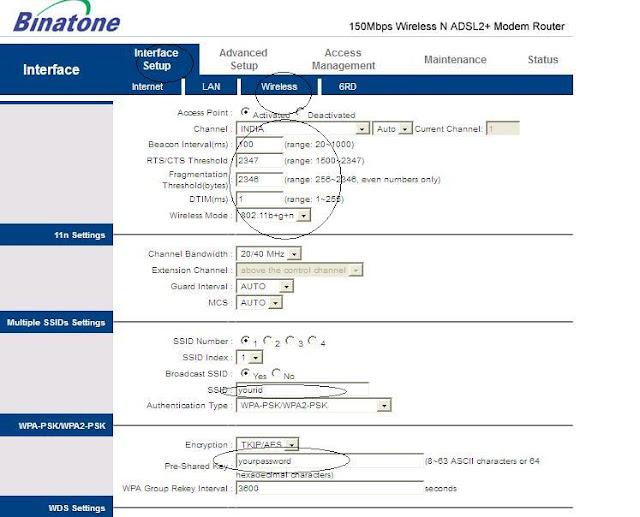 Airtel WiFi Configuration for Binatone Modem