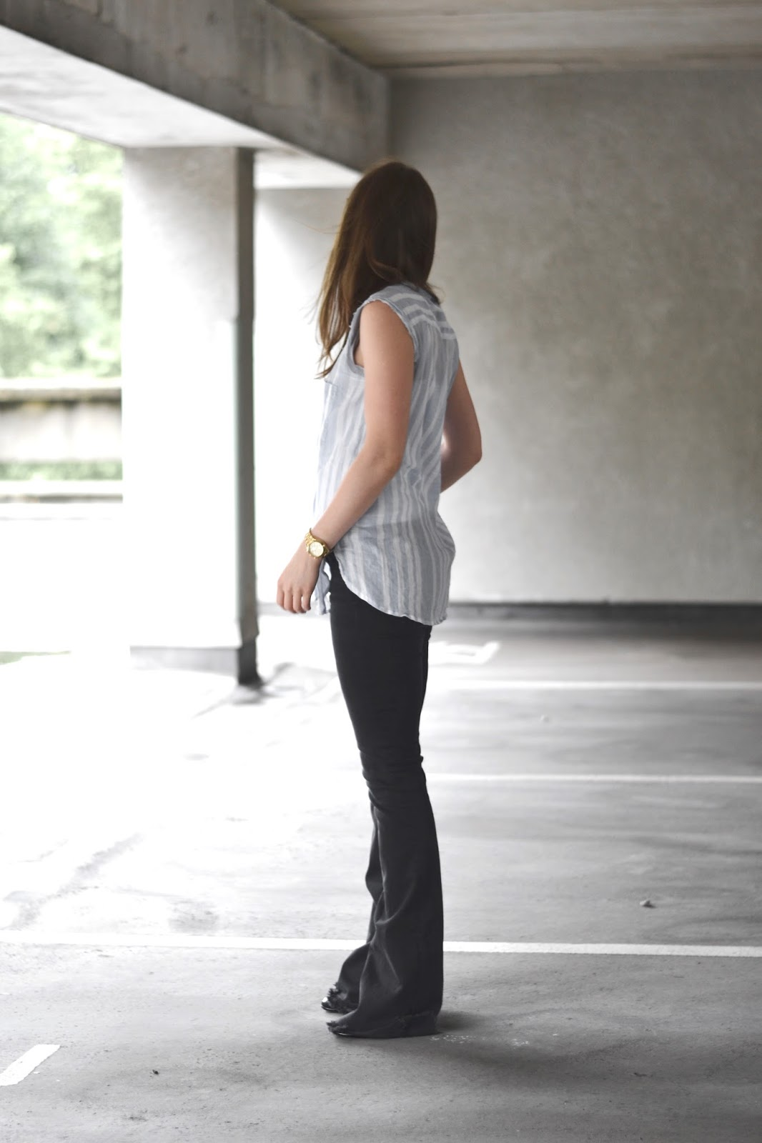 itslilylocket blue striped sleeveless shirt black flares