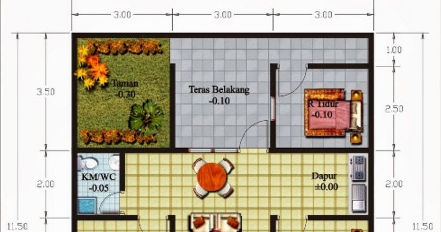 gambar denah 3 kamar tidur di lahan terbatas yang populer